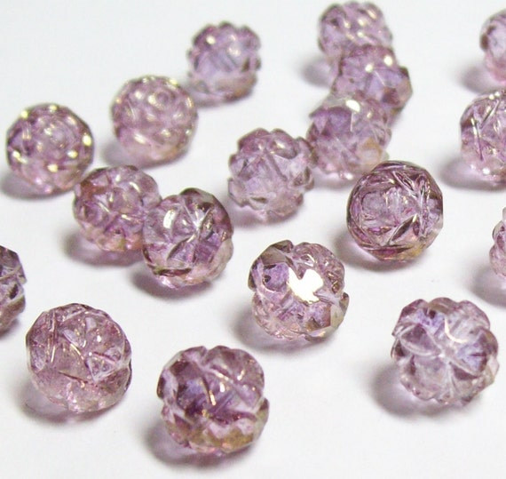 Czech Fire-polished Glass Rosebud - 7mm x 8mm - Amethyst Luster - 12 pieces