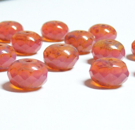 Czech Fire-polished 13x8mm Faceted Rondelles - Salmon Pink Opal Cut-thru Picasso- 6 beads