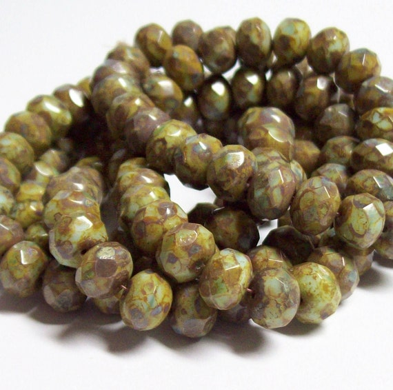 Czech Glass Faceted Fire-Polished Rondelle - 8x6mm - Opaque Light Green Picasso - FULL STRAND (25 beads)