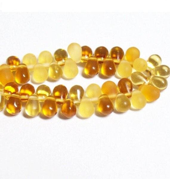 Czech Glass Teardrop - 4x6mm - Topaz Mix - 50 Beads