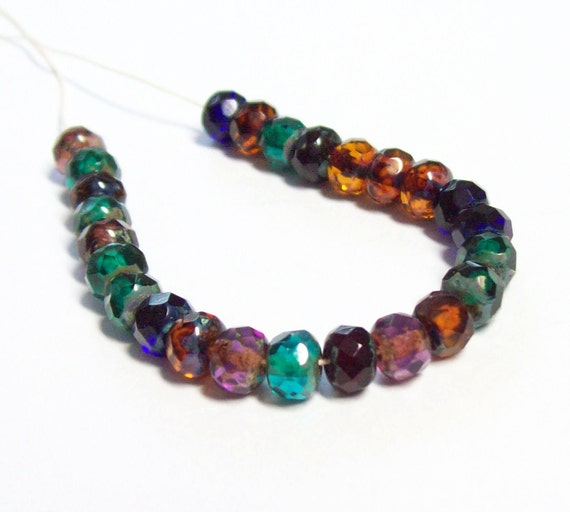Czech Glass Faceted Fire-Polished Rondelle - 5x4mm - Dark Jewel Mix - 25 Beads