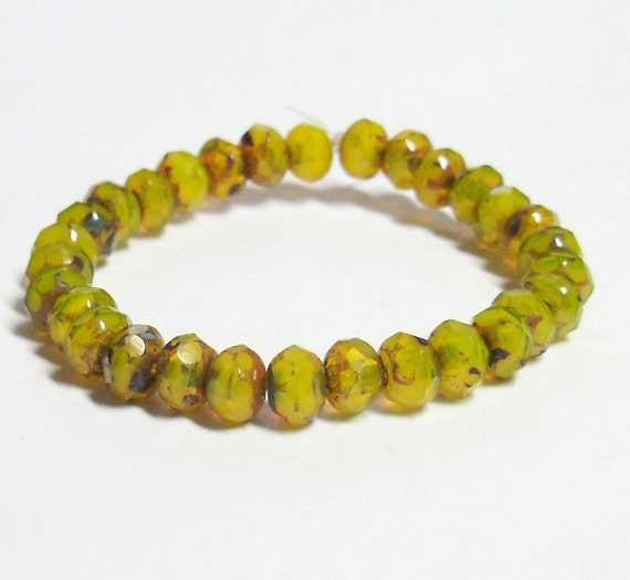Premium Czech Glass Fire Polished Rondelle - 3x5mm - Yellow Opal Cut-thru Picasso  - 30 Beads