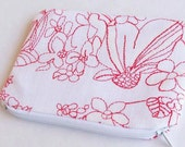 Zippered Pouch in Red and White - Special Promo-