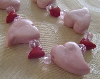 Polymer Clay Bead Set  - Circle of Hearts