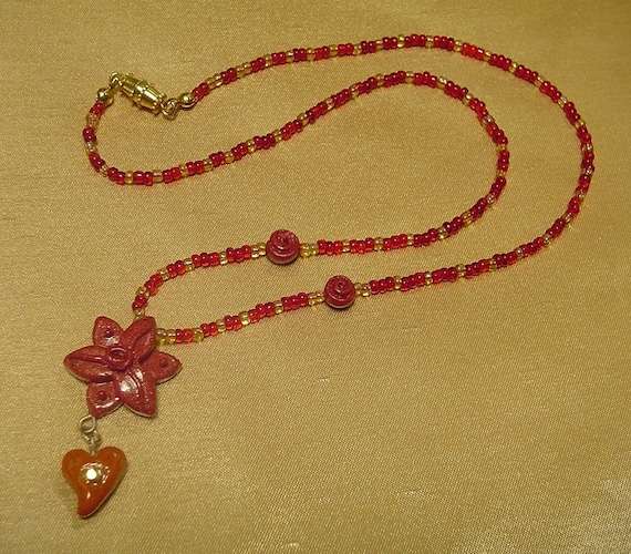Polymer Clay Pendant Beaded Necklace - Hope Hearts Lotus