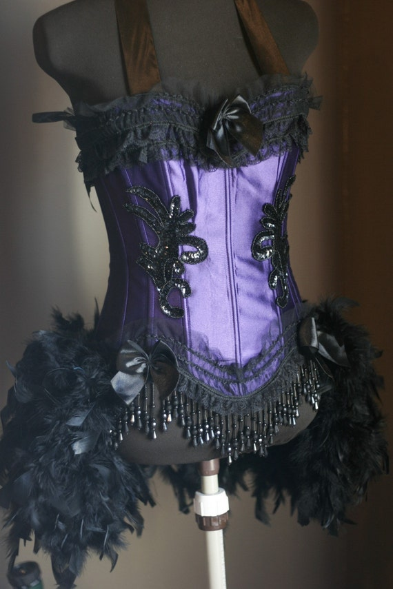 Purple Black Mardi Gras Showgirl Dance Corset Costume - S, M, L available -  MINI TOP HAT INCLUDED
