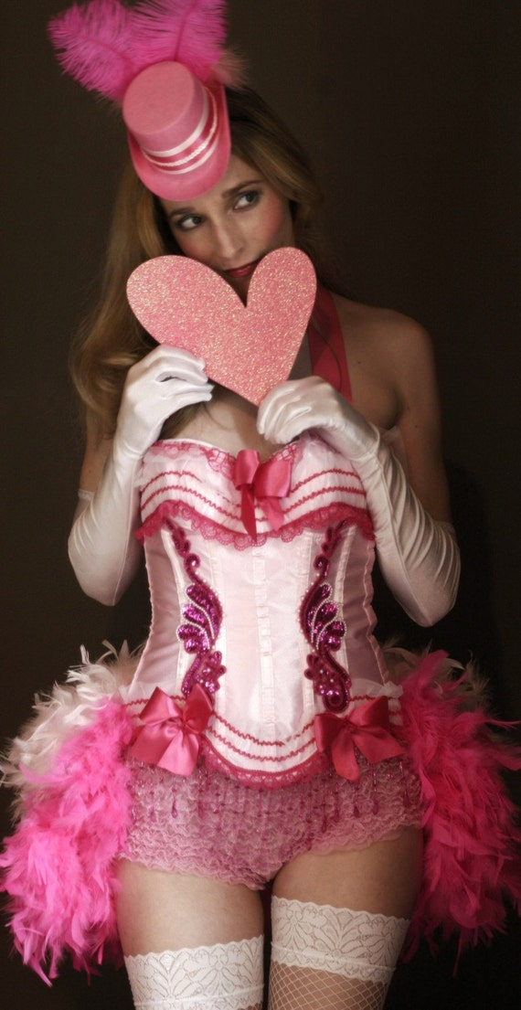 Pink Lady Burlesque Corset Costume By Olgaitaly On Etsy