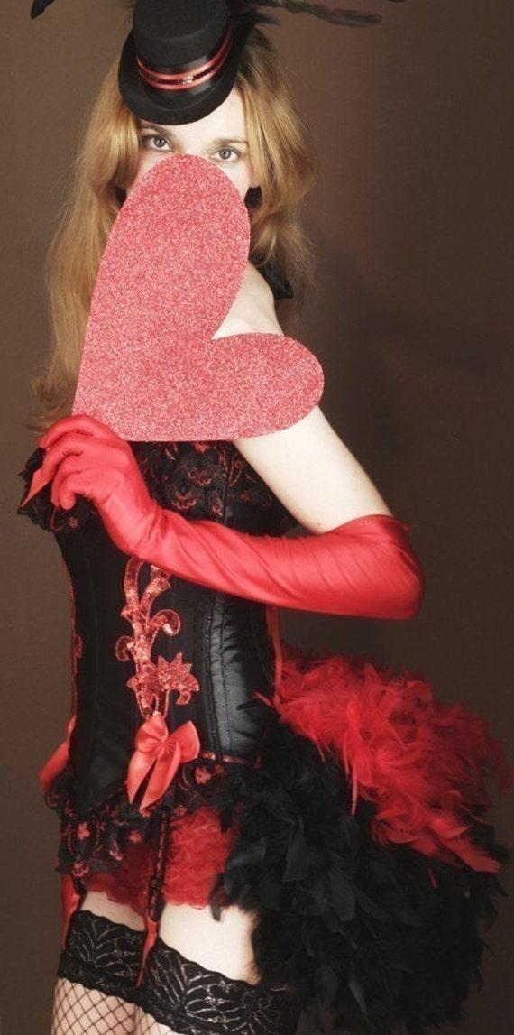 RED SONJA - Great Gatsby Costume dress Burlesque Corset Halloween, black 1920s S-XL