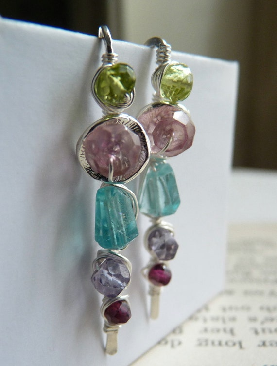 ENTWINED Wire Wrapped Gemstone Earrings - Sterling Silver