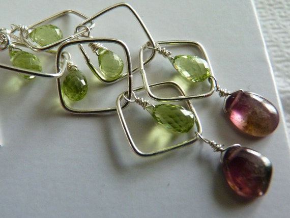 MORNING DEW Earrings - Smooth Watermelon Tourmaline - Faceted Green Peridot - Sterling Silver