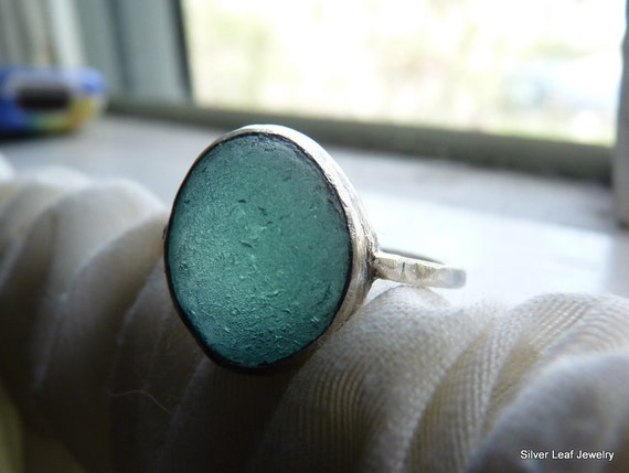 BERING Teal Blue Sea Glass Ring - Genuine English Seaglass Bubble - Sterling Silver - Size 8