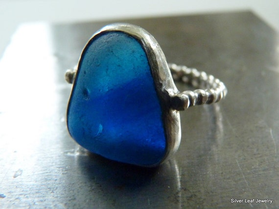 BALTIC Bright Blue Sea Glass Ring - Genuine English Multi - Sterling Silver - Size 6-3/4