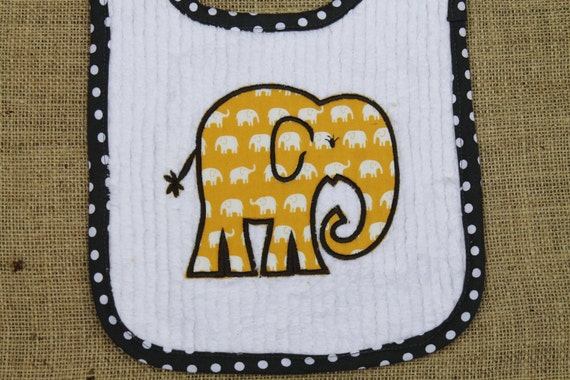 Elephant Applique Reversible Bib