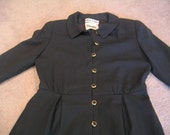 Vintage Neiman Marcus David Hughes Black Wool Shirt Dress (work\/career) - sz. 10