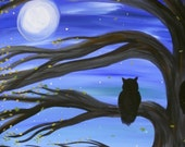 Keeping Watch print, image of original artwork, owl, moonlight