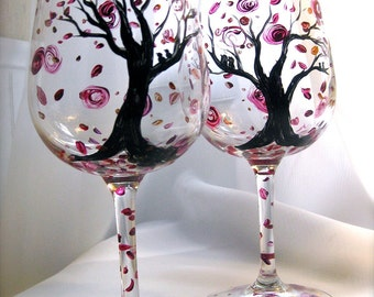 Autumn Splendor hand painted wine glasses set of 2