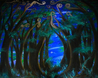 Dream Passage print, image of original artwork, enchanted forest, swirly trees, shooting star
