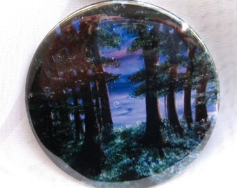 Enchanted Forest pocket mirror, image of original artwork