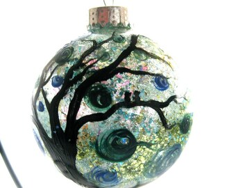 Wintergreen hand painted glass ornament