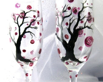 Winter Berry champagne flutes hand painted, set of 2