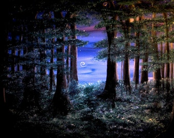 The World Beyond print, image of original artwork, enchanted forest, shooting star, mysterious