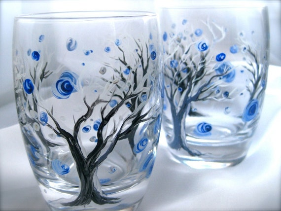 Frosted Forest hand painted wine glasses set of 2