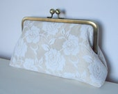Timeless romantic bride...Ivory roses and champagne dupioni silk  Large size purse Sample Listing