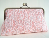 Peach Wedding  Purse Ivory Lace Romantic Large Size Clutch Ready to Ship