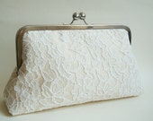 Bridal wedding clutch, Ivory lace purse, champagne dupioni silk clutch,  something blue, large size purse, alencorn lace clutch, made in uk