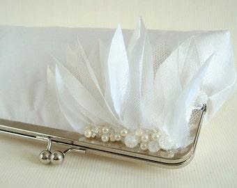 Wedding Bridal Purse White Dupioni Silk Something Blue Beaded Medium Size Made to Order