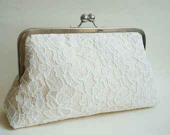 Bridal Wedding Clutch Purse Ivory Lace Champagne Dupioni Silk Something Blue Large Size purse Ready to Ship Made in England UK