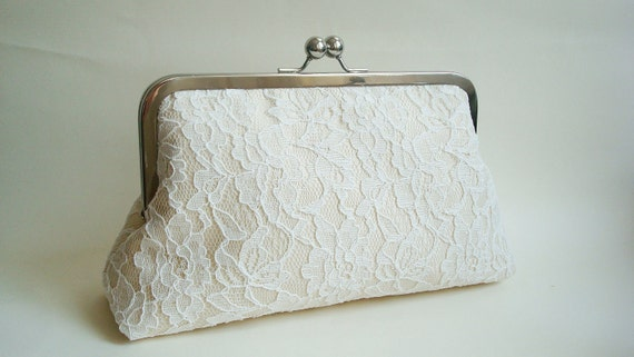 Bridal Wedding Clutch Ivory Lace Purse Champagne Dupioni