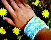 Cabled Cuff Handknit in Sky Blue with Vintage Yellow Buttons