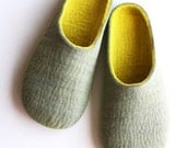 Felted slippers Light Gray with Lemon HANDMADE TO ORDER