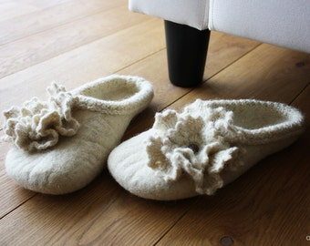 Flowering pearl organic and elegant hand felted wool slippers with crochet flower HANDMADE TO ORDER