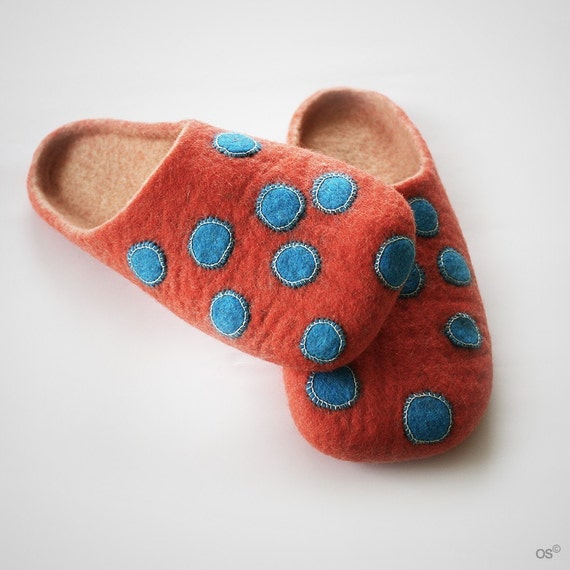 Spotted felted slippers/ Handmade to order