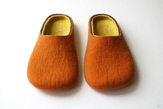 Mulberry  / Orange Felted slippers Handmade to Order