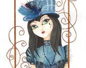 "RESERVED: Sophia, 12x9.75"" (16x12"") Original Illustration"