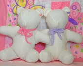 Shabby Girly Bears upcycled from vintage bedspread Adorned with Frilly Bows and Delicate butterflies