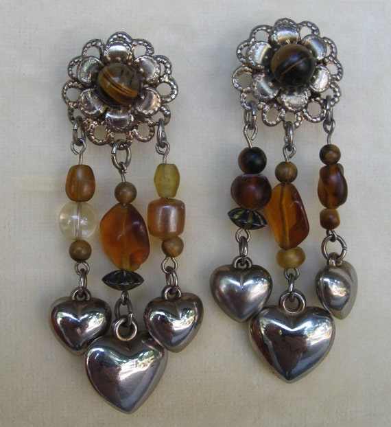 Tiger Hearts - Lovely OOAK recycled earrings with tigers eye and hearts.