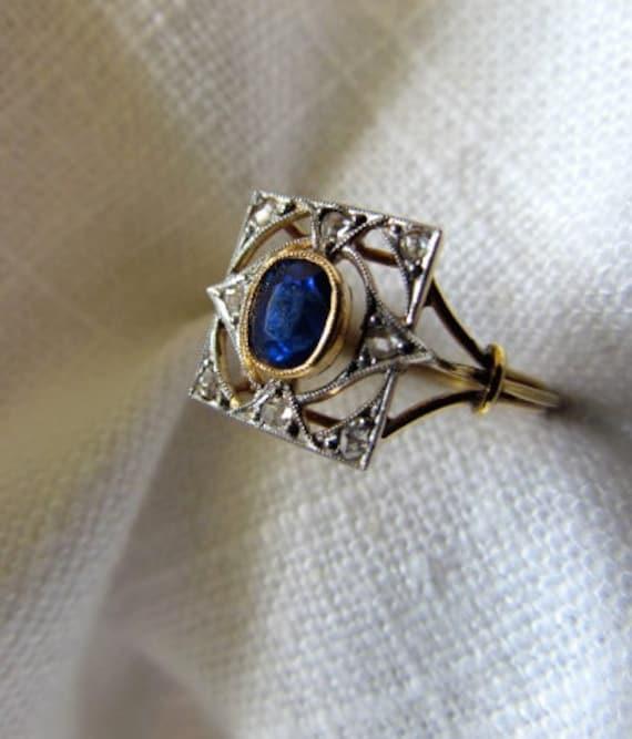 On Sale: Circa 1900 .80 Carat Sapphire with Rose Cut Diamonds Ring