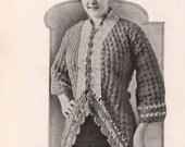 1916 Vintage Ladies Crochet Kimono, Cardigan, Crochet Pattern, Early 1900's Fashion.