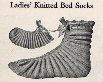 1916 Vintage Ladies Bed Socks Knitting PDF Pattern, Simple, Quick and Classically Beautiful