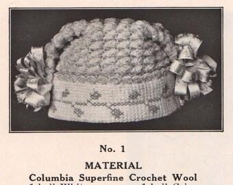 TWO 1916 Vintage baby Hats, Crochet PDF Pattern, Super cute