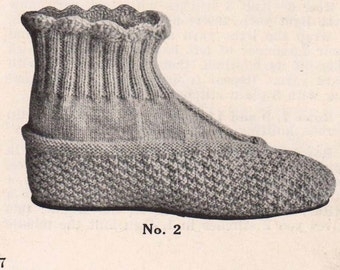 1916 Vintage Ladies Slippers, Knitting Pattern for 2 pairs, download