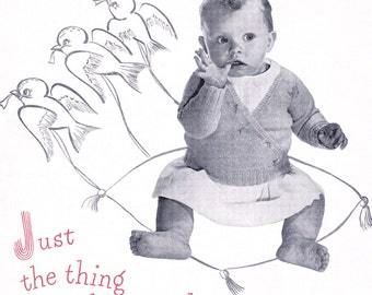 1950's Vintage Baby Wrap Sweater, Easy PDF Knitting Pattern fast download