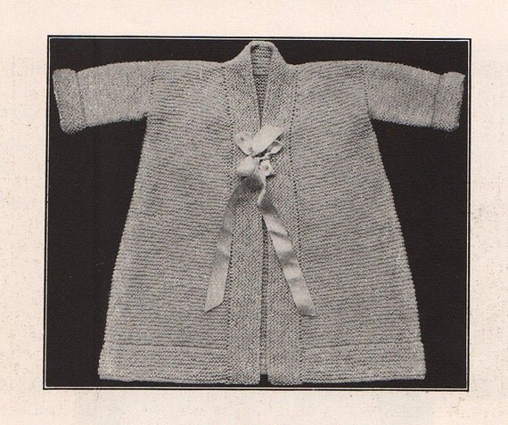 1916 Vintage Infants Kimono Knitting PDF Pattern, Super cute classic, wips up quick & easy