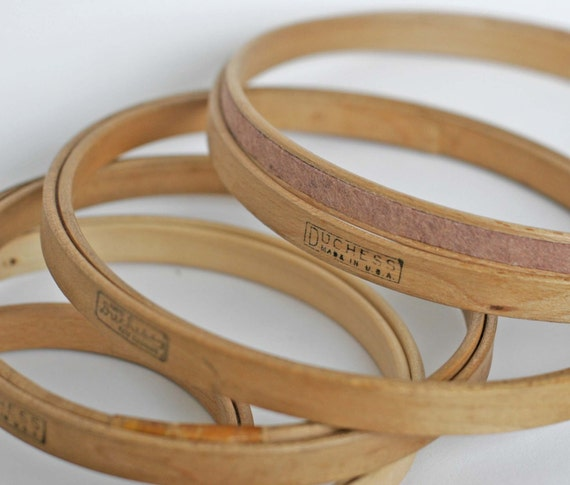 Set of five vintage duchess embroidery hoops wood felt lined