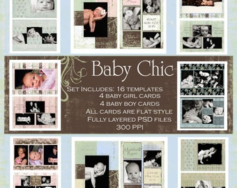 Baby Chic Birth Announcements: 16 Templates **Instant Download**