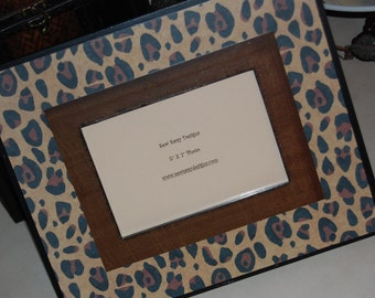 Leopard Print Wooden Picture Frame with Border Color